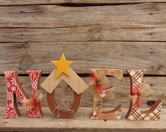 Christmas Decor, Manger, Noel, Chunky letter set with Manger