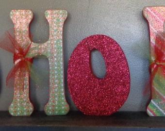 Handmade Christmas shelf/mantle decor HO HO HO