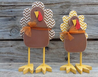 Thanksgiving Decor- Fall Decor- Turkey decor- Thanksgiving Decoration- Centerpiece-Standing Turkeys
