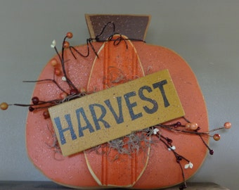 Chunky Wood Pumpkin with Harvest sign, Berries & Moss