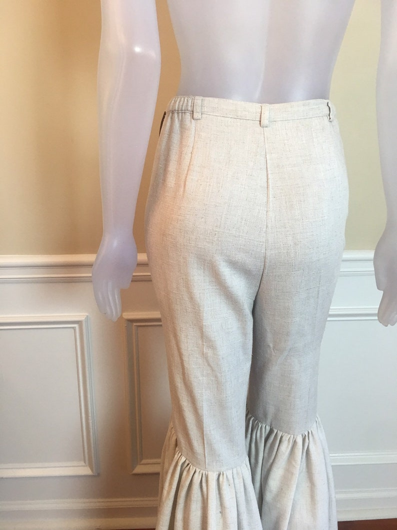 Upcycled beige womens size 12 linen like gathered bell bottoms pants