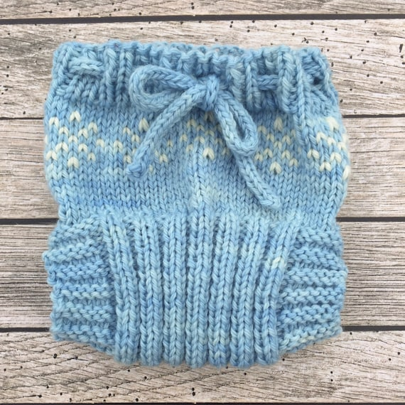 Snowflakes Diaper Cover Hand Knit Wool Soaker Wool Diaper Etsy