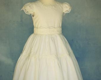 Linen Couture Dress Girls, Linen Dress, Flower Girl Dress, Heirloom Dress, Special Occasion Dress, Ivory Linen Dress