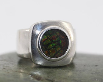 Vintage Bold Multi Color Dichroic Glass  Sterling Silver Ring Modern Style Size 7-1/4  FREE US Shipping