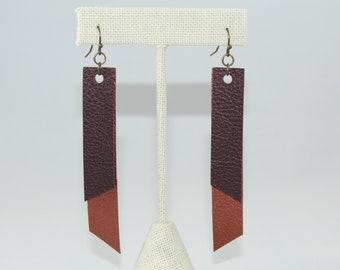 Faux Leather Copper & Brown Earrings
