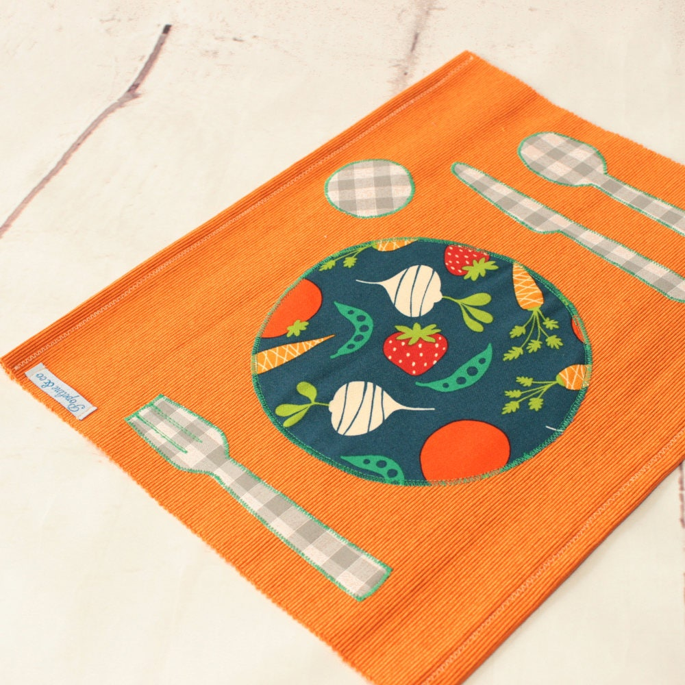 montessori set de table orangerentr e des classes lunch etsy. Black Bedroom Furniture Sets. Home Design Ideas