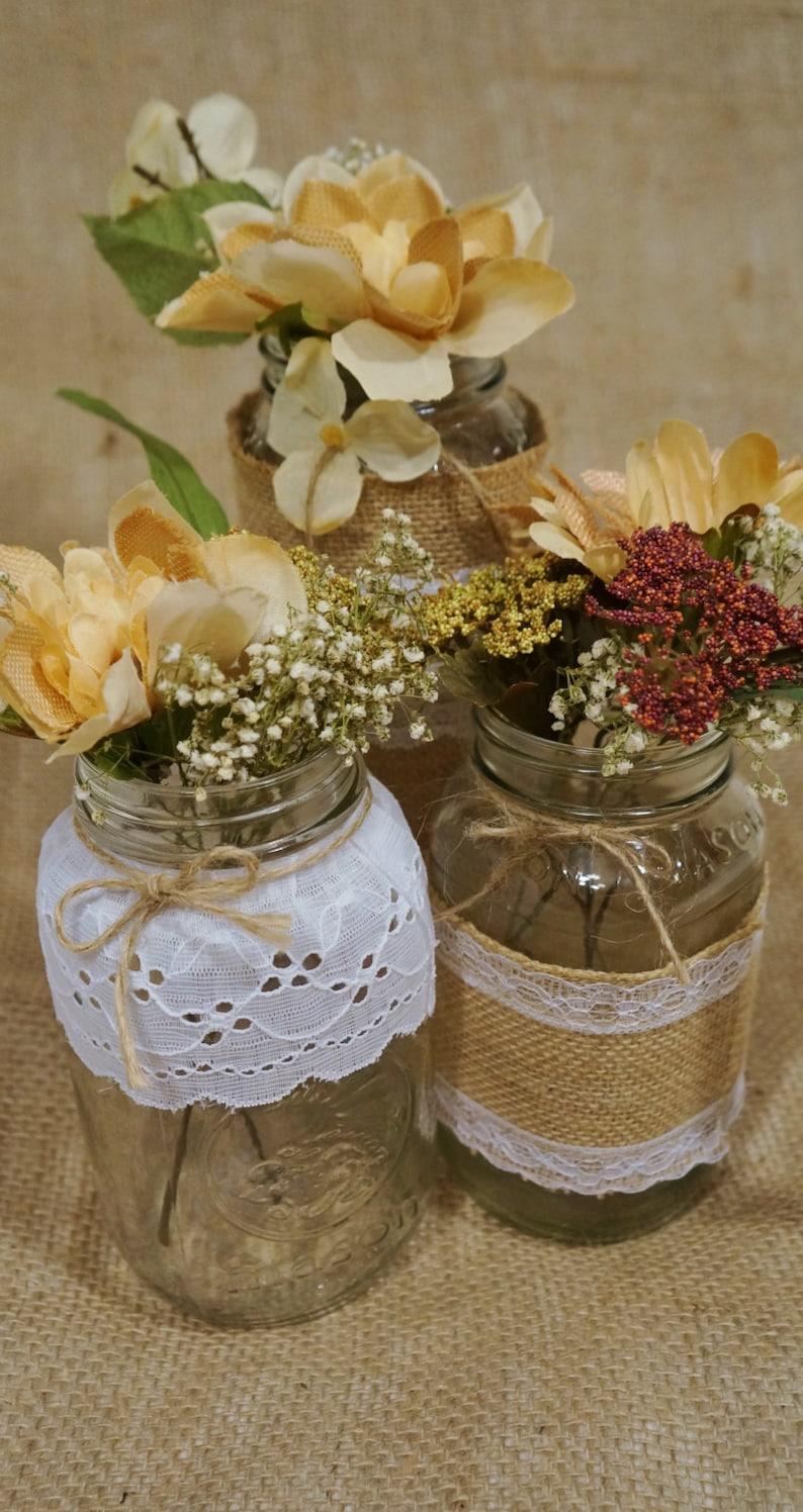 Stupendous Mason Jar Centerpieces Set Of 3 Burlap Lace Mason Jars Flower Filled Mason Jars And Glass Bottles Country Chic Centerpieces Rustic Interior Design Ideas Oxytryabchikinfo