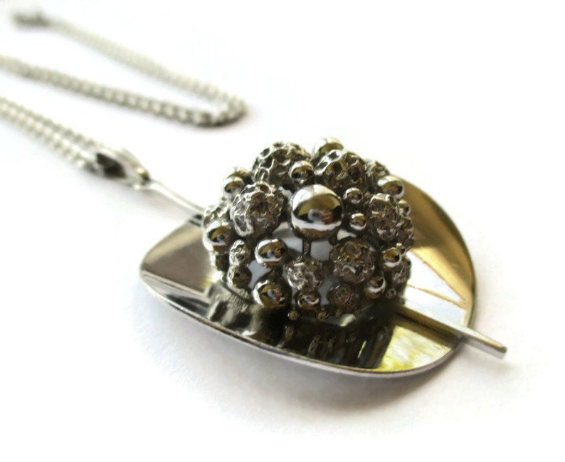 likely German London import mark sterling midcentury modern space age early 70s minimalist necklace 1972 modernist bobble silver pendant