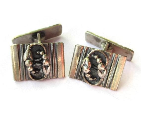 Danish 830 silver cufflinks Willy H Jacob Krogmar Denmark 1930s Art Deco Art Nouveau style Scandinavian shirt accessories suit gift for men