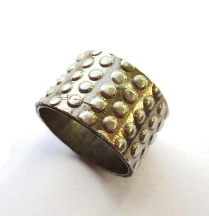 Wide sterling silver dimpled band, modernist industrial design, hallmarked  stacking ring, minimalist modern 925 jewelry, Birmingham hallmark
