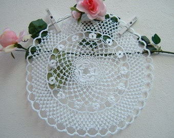 Crochet Center with Flowers-white Cotton centerpiece-romantic House Decoration-crochet creation for home