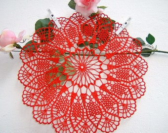 Crochet Lace Centre-red cotton centerpiece-Christmas decoration for the table-colorful doily