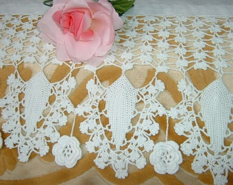 Lace for crochet border. Border for tent with the Roses of Ireland to cascade. Crochet Romantic style home. To order.