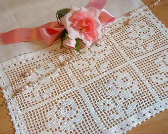 Lace for curtains with roses. Lace handmade crochet with filet technique. Shabby Chic Crochet. White cotton. To order.