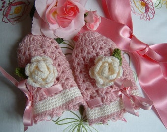 Fingerless gloves for little girl handmade crochet with two decorative roses. Crochet girl, romantic and feminine fashion.