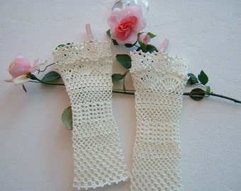 Ivory cotton sleeves-romantic lace crochet cuffs-Bridal and bridesmaid Gloves-fingerless gloves-Wedding Cuffs