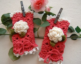 Dark pink wool sleeves in crochet-half gloves with applied roses-crochet fingerless gloves-wool cuff warmer-