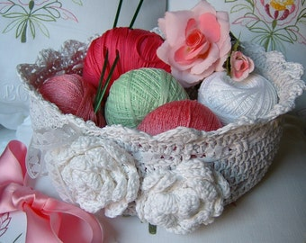 Crochet basket. Light grey cotton basket. Decorative roses applied. Romantic Crochet basket. Cotton box