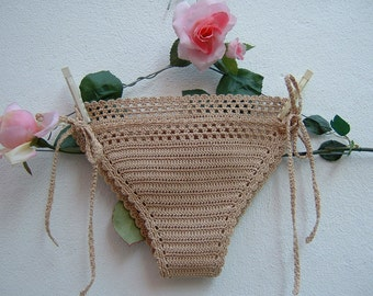 Ecru Cotton panties-hippie chic crochet Costume-beach bottoms with laces-boho sea fashion