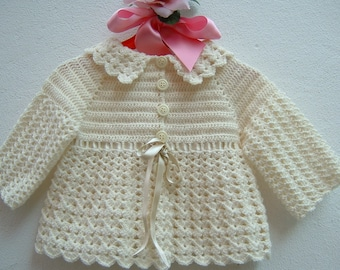 crocheted Baby sweater-Mini Ivory merino wool cardigan-woollen jacket for girls-size 6-9 months