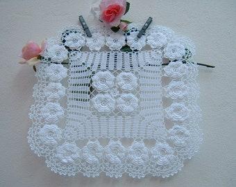 Square Crochet Center-centerpiece with Irish roses-white cotton centerpiece-Romantic Crochet Center