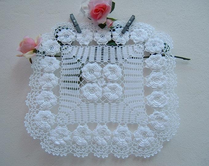 Featured listing image: Square Crochet Center-centerpiece with Irish roses-white cotton centerpiece-Romantic Crochet Center