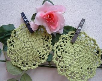 Crochet Coasters-Set of 6 acid green cotton coasters-small crochet placecettes-table decor-Crochet Doilies