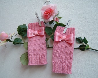 Medium Gloves in pure pink wool with flakes-hand-knitted sleeves-finger-knit gloves-wool cuff warmer