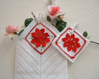 White and red cotton pot holder and dry-complete crochet hook for kitchen-Christmas presents-white pot holder and crochet cloth