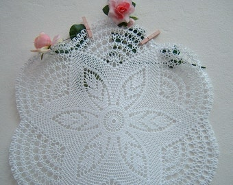 Crochet lace Tablecloth-white cotton centerpiece-crochet design for table-Romantic house decoration