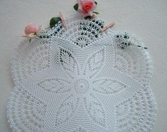 Crochet lace Tablecloth-white cotton centerpiece-crochet design for table-Romantic house decoration