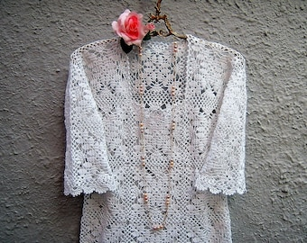 Crochet jersey for the summer-boho chic romantic blouse-women's fashion white lace spring-bohemian clothing-made to crochet
