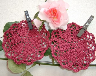 Crochet Coasters-Set of 6 cherry-colored coaster coasters-small crochet placonettes-table Decor