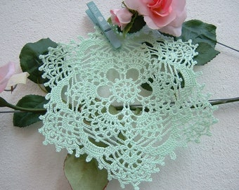 Doily for crochet favor box-center door confetti in light green cotton-souvenir for guests-wedding Gift