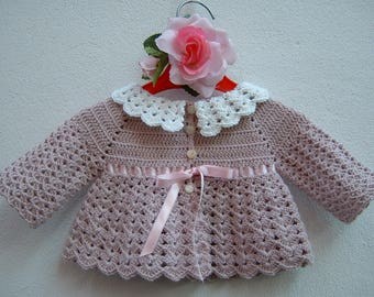 Baby Sweater crochet-Mini pink and white merino wool cardigan for babies-wool jacket for girls-size 0 months birth
