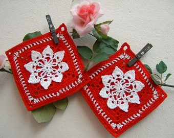 Crochet pot Holders-pair of red and white cotton pot holders-two Christmas crochet pot holders-complete for kitchen-Christmas gifts