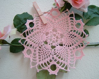 Doily for crochet favor box-center door confetti in pink cotton-souvenir crochet for guests-wedding Gift
