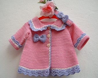 Crochet sweater and headband-Mini merino wool cardigan pink, lilac and white-wool jacket for girls-size 0-3 months