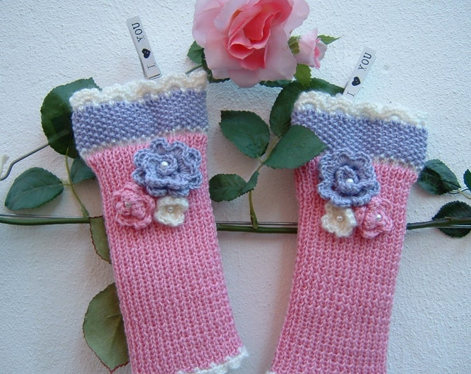 Featured listing image: Finger-knitted gloves-medium hand-made mittens-pink, lilac and white wool sleeves-knitted wrist warmers-Women gloves