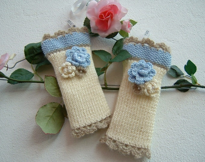 Featured listing image: Sleeves in ivory wool, blue and beige-medium mittens with flowers applied-fingerless knitted gloves-Tricot warmer cuffs