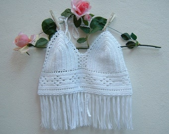 White crochet top-top hippie chic cotton-bra with fringes-Coachella Festival-boho top fashion-top beach-Made in Italy