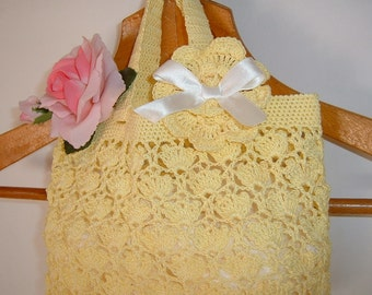 Crochet Baby Bag. Yellow cotton bag. Romantic and feminine style. Yellow bag for little girl. Yellow Cotton Crochet