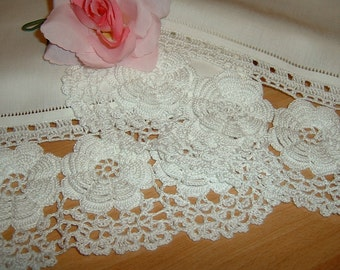 Crochet lace curtain with Rose of Ireland-white cotton lace-lace edge-shabby chic-custom style.