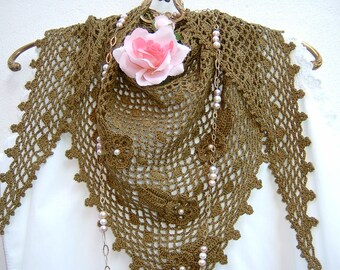 Crochet Lace scarf-olive-coloured cotton shoulder cover-triangle scarf with applied flowers and leaves