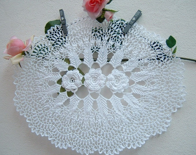 Featured listing image: Oval Crochet Center-centerpiece with Irish roses-white cotton centerpiece-Italian lace-mat crochet