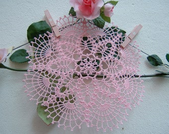 Centrino Lace Crochet-pink cotton center-Romantic house decoration-handmade crochet-colored centerpieces