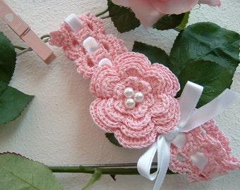 Baby pink cotton headband-baby girl crochet headband-baptismal hair ribbon-baby clothing-baby fashion