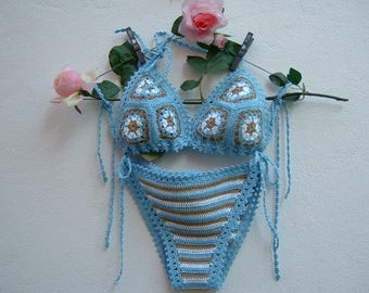 Blue, Ecru and white cotton crochet Bikini-two-piece triangle-striped crochet Slip-granny bra-