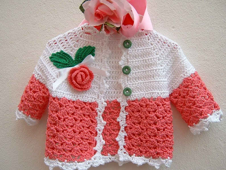 Golfino Per Bebè Alluncinetto Cotone Rosa E Bianco Con Etsy