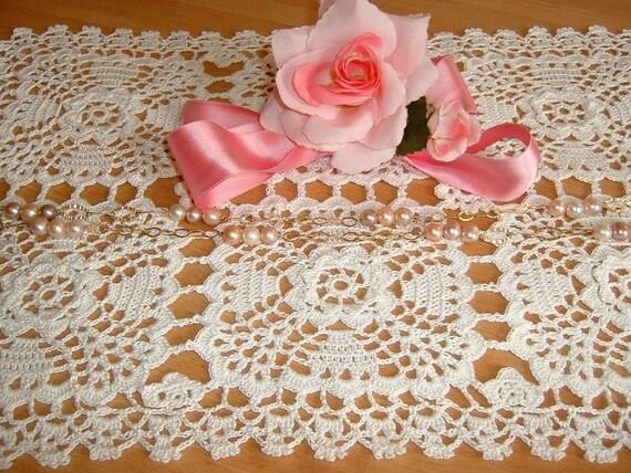 Rechteckiges Tischset Handarbeit Häkeln Weiße Baumwolle Etsy